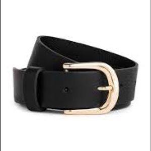 H&M Leather Belt in Black/Gold